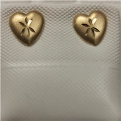 14K Yellow Gold Heart Shaped Earrings, Made in Canada, Suggested Retail Value $200