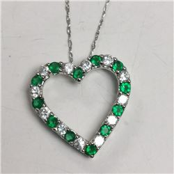 Silver Stimulated Emerald Necklace, Made in Canada, Suggested Retail Value $100