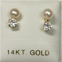 14K White Gold Fresh Water Pearl Cubic Zirconia Earrings, Made in Canada, Suggested Retail Value $20