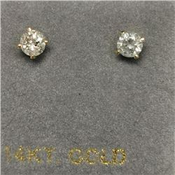 14K Yellow Gold 2 Diamond(0.24ct) Earrings, Made in Canada, Suggested Retail Value $700