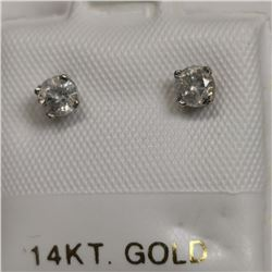 14K White Gold 2 Diamond(0.3ct) Earrings, Made in Canada, Appraised Retail $1175