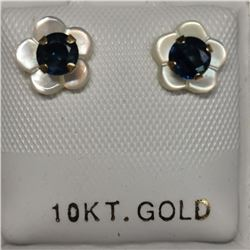 10K Yellow Gold 2 Sapphire(0.66ct) Earrings, Made in Canada, Suggested Retail Value $160