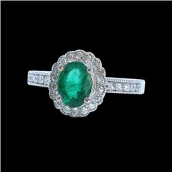 1.21CT NATURAL COLOMBIAN EMERALD 14K WHITE GOLD RING