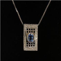 1.30CT NATURAL CEYLON BLUE SAPPHIRE 14K WHITE GOLD PENDANT