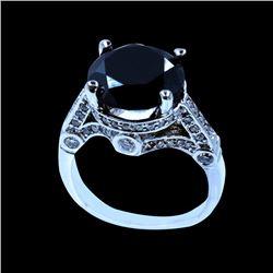 7.28CT TREATED BLACK DIAMOND 14K W/G RING