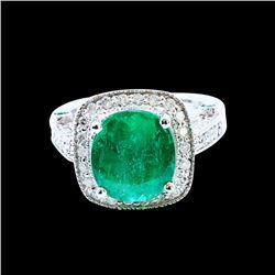 4.48ct Emerald 14K White Gold Ring