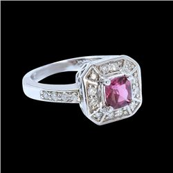 0.66CT NATURAL CEYLON PINK SAPPHIRE 14K WHITE GOLD RING