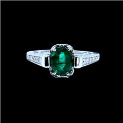 1.66CT NATURAL COLOMBIAN EMERALD 14K WHITE GOLD RING