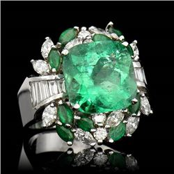 6.43CT NATURAL COLOMBIAN EMERALD 18K WHITE GOLD RING
