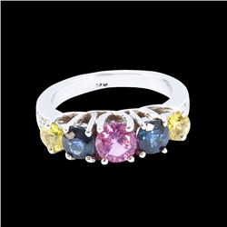 1.91CT NATURAL CEYLON BLUE AND PINK SAPPHIRE 14K WHITE GOLD RING