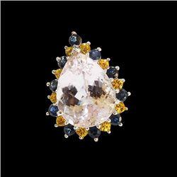 1.28CT NATURAL CEYLON BLUE, YELLOW SAPPHIRE AND KUNZITE 14K WHITE GOLD RING