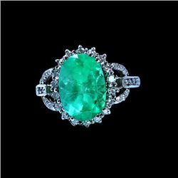 3.92CT NATURAL COLOMBIAN EMERALD 14K WHITE GOLD RING
