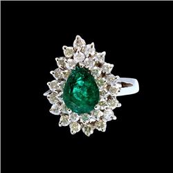 1.73CT NATURAL COLOMBIAN EMERALD 18K WHITE GOLD RING