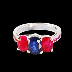 1.51CT NATURAL PINK,BLUE SAPPHIRE AND RUBY 14K WHITE GOLD RING