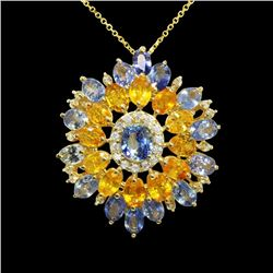 8.75ct Blue Sapphire / 7.34ct Yellow Sapphire 14K Yellow Gold Pendant