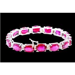 62.61ct Ruby 14K White Gold Bracelet