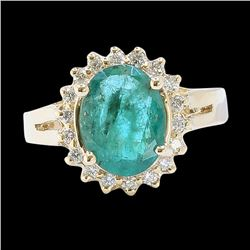 7.07CT NATURAL COLOMBIAN EMERALD 14K Y/G RING