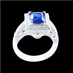 2.31CT NATURAL CEYLON BLUE SAPPHIRE 14K W/G RING