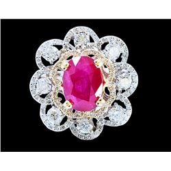 GIA 4.04CT NATURAL BURMA RUBY(NO LEAD FILLING) 14K WHITE GOLD RING
