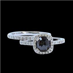 1.40CT TREATED BLACK DIAMOND 14K WHITE GOLD RING 2PC