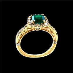 0.97CT NATURAL COLOMBIAN EMERALD 14K Y/G RING