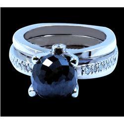 7.50CT NATURAL Black Diamond 14K W/G RING