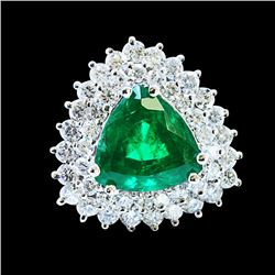 GIA 4.84ct NATURAL COLOMBIAN EMERALD 14K WHITE GOLD Ring
