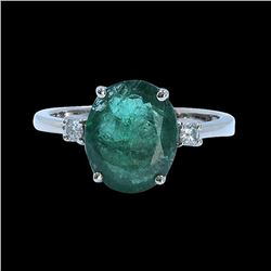 2.89CT NATURAL COLOMBIAN EMERALD 14K WHITE GOLD RING