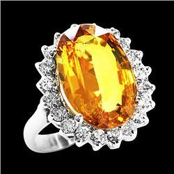 8.20CT NATURAL CEYLON YELLOW SAPPHIRE 14K WHITE GOLD RING