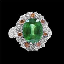 6.51CT NATURAL CEYLON GREEN SAPPHIRE 14K WHITE GOLD RING
