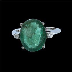 4.71CT NATURAL COLOMBIAN EMERALD 14K WHITE GOLD RING