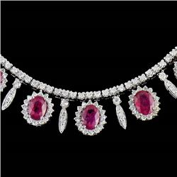 GIA 12.20CT NATURAL RUBY 14K WHITE GOLD NECKLACE