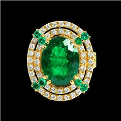 GIA 6.58ct COLOMBIAN EMERALD 18K YELLOW GOLD RING