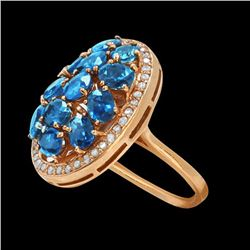 5.25CT NATURAL CEYLON BLUE SAPPHIRE 14K ROSE GOLD RING
