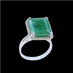 7.82CT NATURAL COLOMBIAN EMERALD14K W/G RING