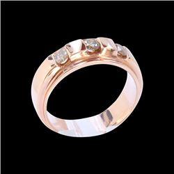 0.58CT NATURAL CHAMPANGE RED DIAMOND 14K R/G RING