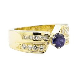1.16 ctw Blue Sapphire And Diamond Ring - 14KT Yellow Gold