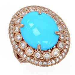 9.07 ctw Turquoise & Diamond Victorian Ring 14K Rose Gold