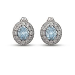 7.24 ctw Aquamarine & Diamond Victorian Earrings 14K White Gold