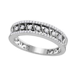 10kt White Gold Round Diamond Milgrain Band Ring 1/4 Cttw