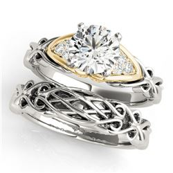 0.85 ctw Certified VS/SI Diamond Solitaire 2pc Set 14k 2Tone Gold