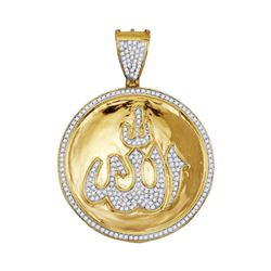 10kt Yellow Gold Mens Round Diamond Allah Medallion Charm Pendant 3/4 Cttw