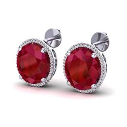 25 ctw Ruby & Micro Pave VS/SI Diamond Earrings 18k White Gold