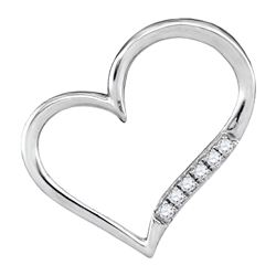 10kt White Gold Round Diamond Heart Outline Pendant 1/20 Cttw
