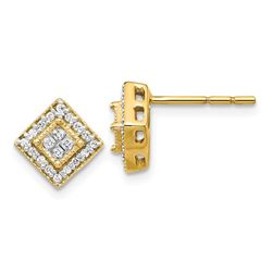 14k Yellow Gold Polished Diamond Post Earrings - 9 mm