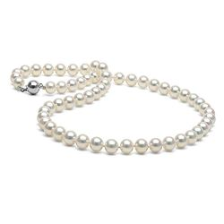 White Akoya Pearl Necklace, 7.0-7.5mm