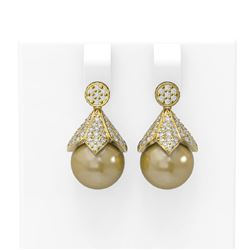 1.56 ctw Diamond & Pearl Earrings 18K Yellow Gold