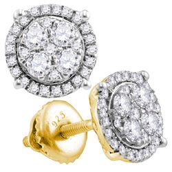 10kt Yellow Gold Round Diamond Circle Cluster Earrings 3/4 Cttw