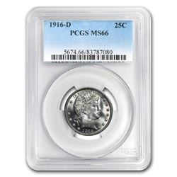 1916-D Barber Quarter MS-66 PCGS