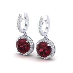 5.50 ctw Garnet & Micro Pave VS/SI Diamond Certified 18k White Gold